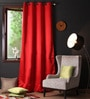 Lushomes Red Polyester 108 x 54 Inch Plain Blackout Long Door Curtain with 8 Metal Eyelets  -1 Piece