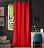 Lushomes Red Polyester 108 x 54 Inch Twinkle Star 8 Eyelets Long Door Curtain with Blackout Lining  -1 Piece
