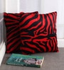 Lushomes Red Polyester 12 x 12 Inch Zebra Skin Printed Cushion Covers - Set of 2