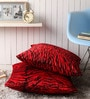 Lushomes Red Polyester 24 x 24 Inch Tiger Skin Printed Cushion Covers - Set of 2