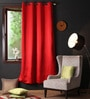 Lushomes Red Polyester 90 x 54 Inch Plain Blackout Door Curtain with 8 Metal Eyelets  -1 Piece