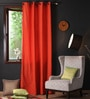 Red Wood Cotton 108 x 54 Inch Plain Long Door Curtain with 8 Eyelets & Plain Tiebacks -1 Piece by Lushomes