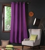 Royal Lilac Cotton 90 x 54 Inch Plain Door Curtain with 8 Eyelets & Plain Tiebacks -1 Piece by Lushomes