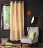 Sand Cotton 90 x 54 Inch Plain Door Curtain with 8 Eyelets & Plain Tiebacks -1 Piece by Lushomes