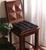 Sedona Sage & Pirate Black Cotton & Polyester 16 x 16 Inch Half Panama Chair Pad by Lushomes