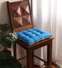 Sky Diver & Sand Cotton & Polyester 16 x 16 Inch Half Panama Chair Pad by Lushomes