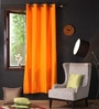 Sun Orange Cotton 90 x 54 Inch Plain Door Curtain with 8 Eyelets & Plain Tiebacks -1 Piece by Lushomes