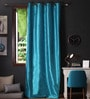 Turquoise Polyester 108 x 54 Inch Twinkle Star 8 Eyelets Long Door Curtain with Blackout Lining -1 Piece by Lushomes