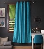 Lushomes Turquoise Polyester 90 x 54 Inch Twinkle Star 8 Eyelets Door Curtain with Blackout Lining  -1 Piece