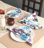 Lushomes Watercolour Printed Blue Cotton Dinner Napkins - Set of 6