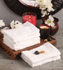 White Cotton 12 x 12 Face Towel - Set of 6 by Lushomes