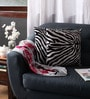 White Polyester 16 x 16 Inch Tiger Skin Printed Cushion Covers - Set of 2 by Lushomes