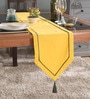 Lushomes Yellow Cotton Table Runner with Green Contrasting Cord Piping