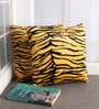 Lushomes Yellow Polyester 12 x 12 Inch Tiger Skin Printed Cushion Covers - Set of 2