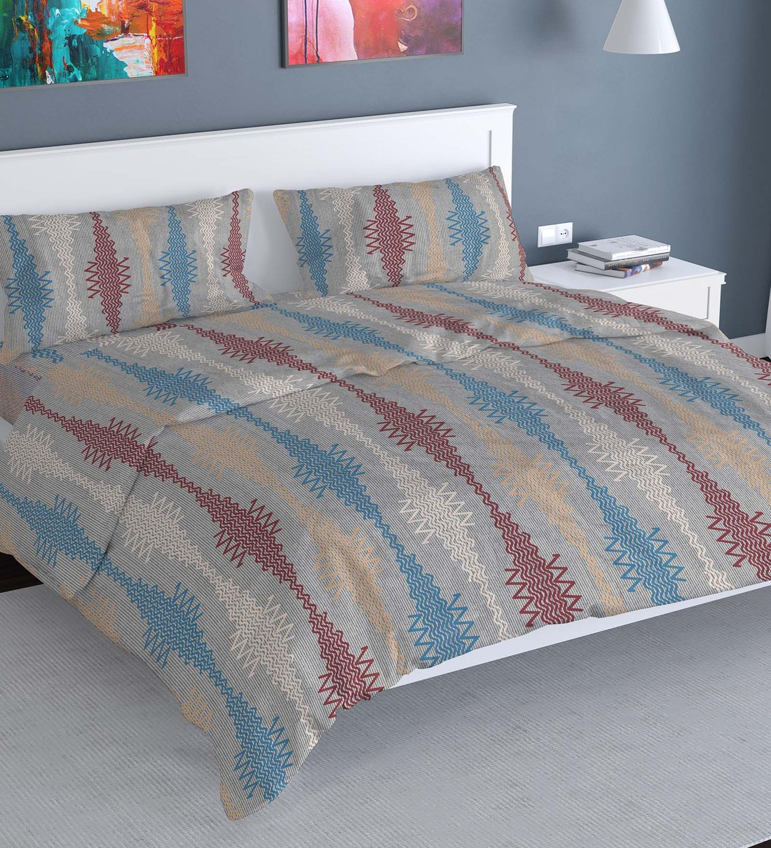 Buy Majestic Cotton 160tc Double Bedsheet With 2 Pillow Covers By Florida Online Abstract Double Bed Sheets Bed Sheets Furnishings Pepperfry Product