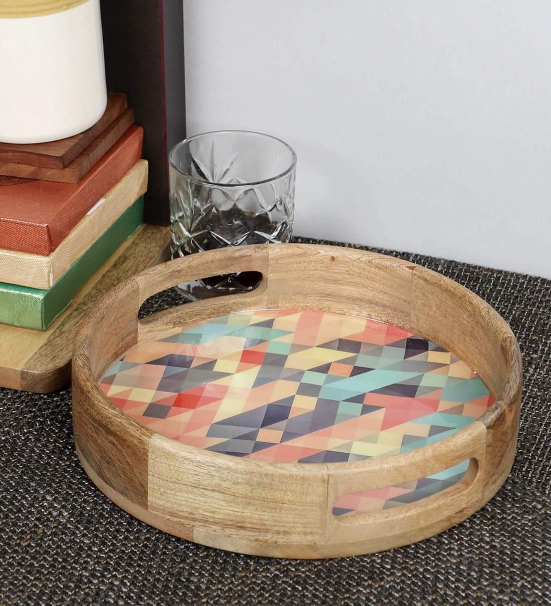 Buy Mango Wood Round Serving Tray By Vareesha Online Serving Trays Serving Trays Discontinued Pepperfry Product