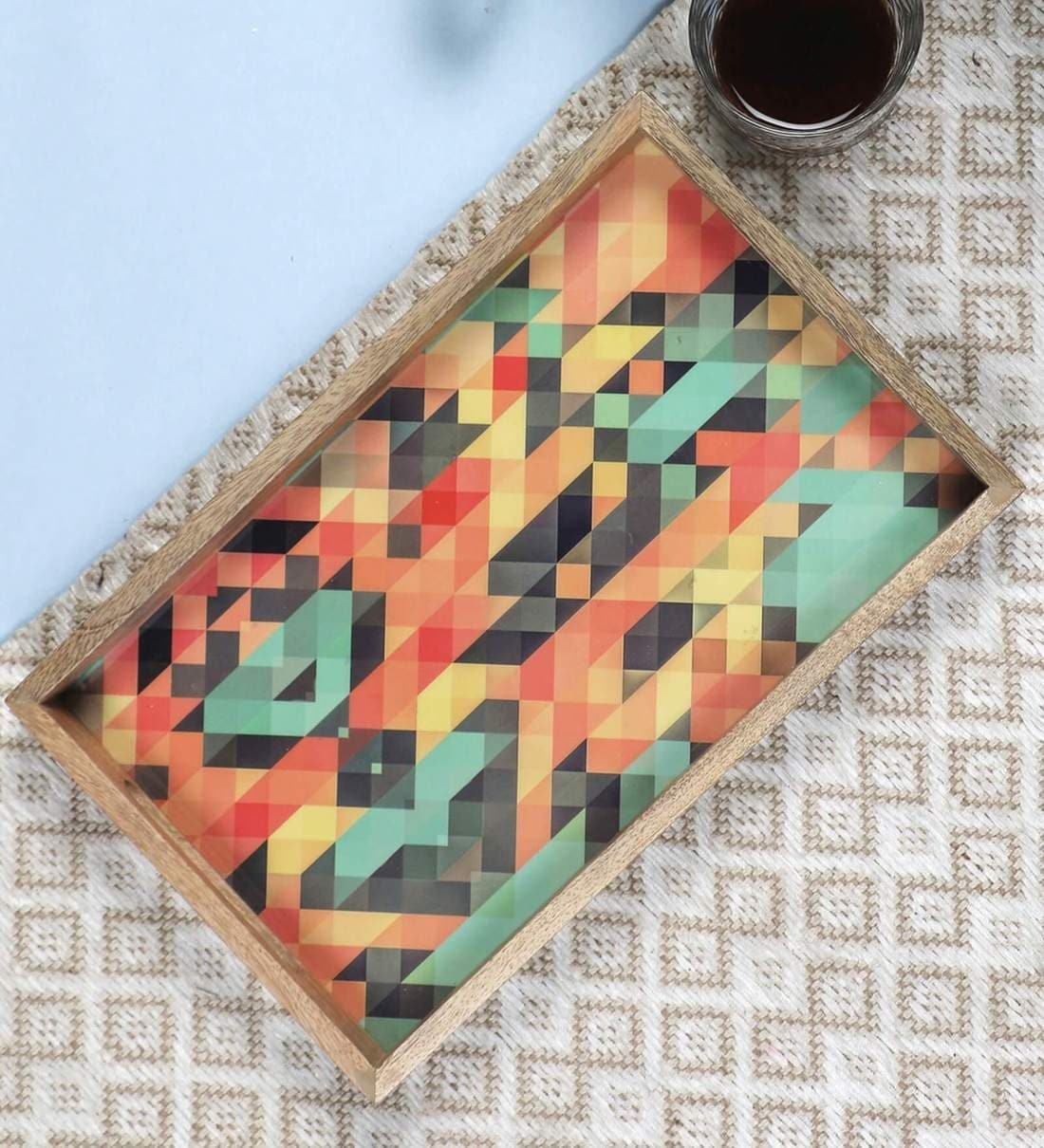 Buy Mango Wood Rectangle Serving Tray By Vareesha Online Serving Trays Serving Trays Discontinued Pepperfry Product