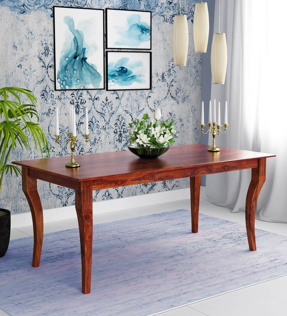 buy maple 6 seater dining table in honey finish