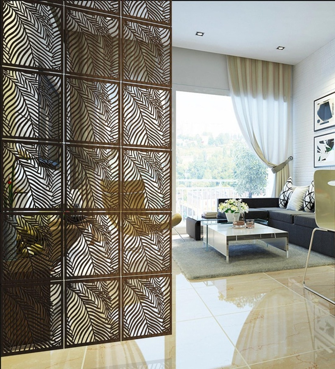 Hanging Room Divider In Brown Colour, Living Room Dividers