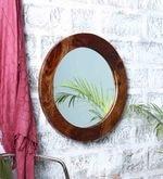Brown Sheesham Wood Round Frame Mirror