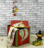 Madhubani Wooden Storage Box cum Stool in Red Colour