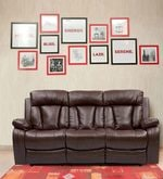 Magna Three Seater Manual Recliner Sofa in Dark Brown Leatherette
