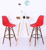 Makoto Bar Chair (Set of 2) in Red Colour