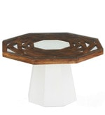 Malibu Center Table in White with Walnut Finish