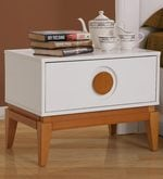 Malta Bedside Table in White & Brown Finish
