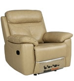 Manhattan Leather One Seater Recliner in Beige Colour