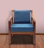 Mariana Teak Wood One Seater Sofa in Natural Teak Finish