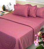 Magenta Solids Cotton Single Size Fitted Bed Sheet Set - Set of 4