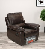 Marshall One Seater Sofa with Recliner cum Rocker in Russet Brown