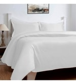 White Cotton Solid 108 x 108 Inch Double Bed Sheet (with Pillow Covers)