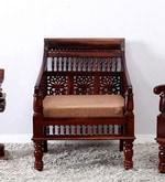 Maurya Handcrafted One Seater Sofa in Honey Oak Finish