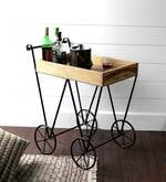 Mayfair Bar Trolley in Natural Sheesham Wood Finish
