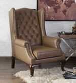 Mayors Wing Chair in Genuine Leather - Peanut Brown By Studio Ochre