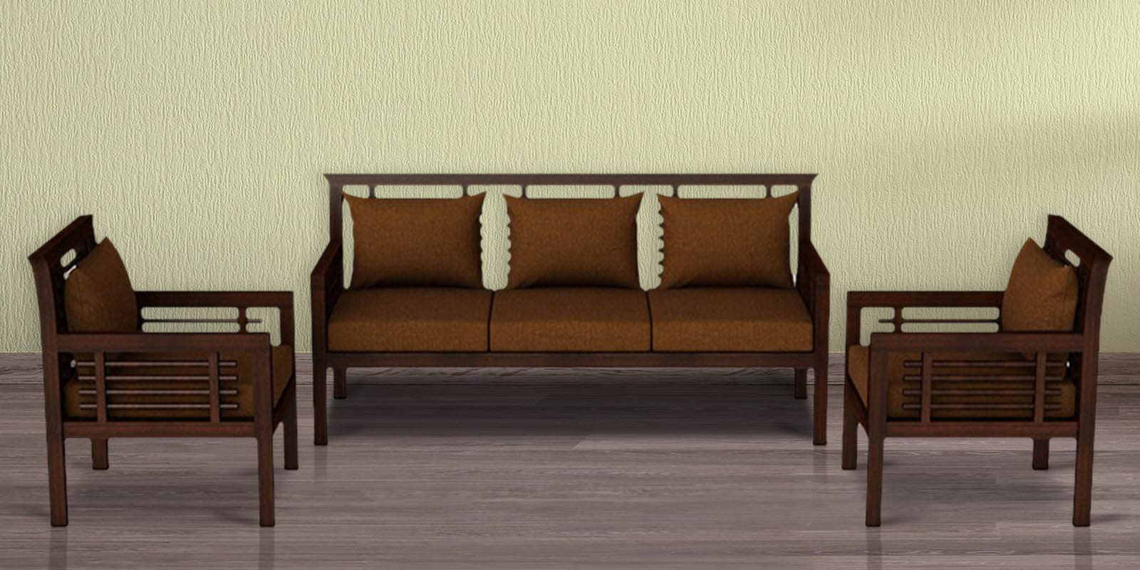 Buy Madison Teak Wood Sofa Set 3 1 1 In Mahogany Finish By Casateak Online Sofa Sets Sofa Sets Furniture Pepperfry Product