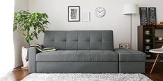 Maceio Storage Sofa cum Bed with Ottoman in Grey Colour