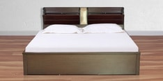 Magna King Size Bed with Hydraulic Storage in Walnut Finish
