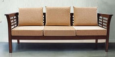Mariana Teak Wood Three Seater Sofa in Fresh Walnut Finish