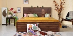 Mauricio Queen Bed with Storage in Columbia Walnut Finish