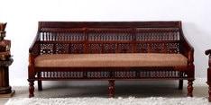 Maurya Handcrafted Three Seater Sofa in Honey Oak Finish