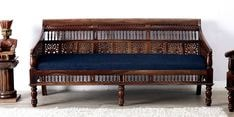 Maurya Handcrafted Three Seater Sofa in Provincial Teak Finish