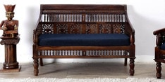 Maurya Handcrafted Two Seater Sofa in Provincial Teak Finish