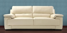 Maximus Leatherette Three Seater Sofa in Cream Coloure