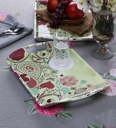 Machi Multicolour Melamine Fine Art Modish Tray - Set Of 2
