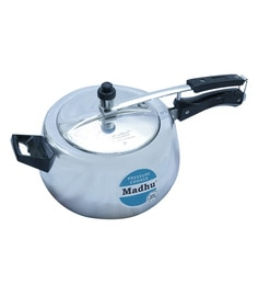 Madhu Aluminium Flora White 5.5 Litres Pressure Cooker With Inner Lid