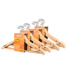 Magna Wooden Finish Plastic Heavy Duty Cloth Hangers - Set Of 24