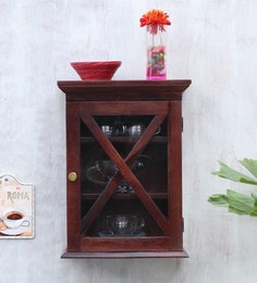 Solid Wood Wall Shelf With Glass Door In Mahogany Finish